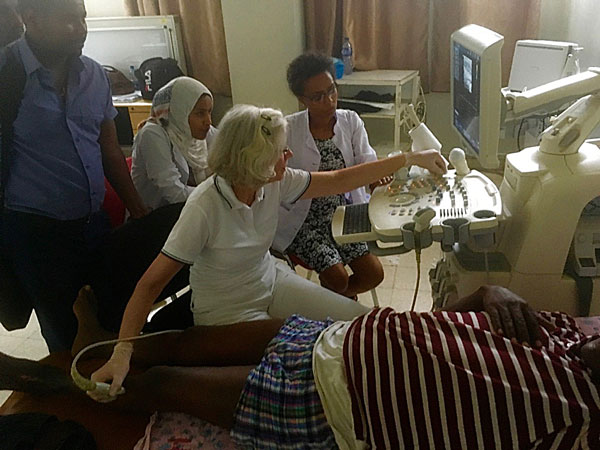 Dr. Van der Laan during sonography in Ayder 2017